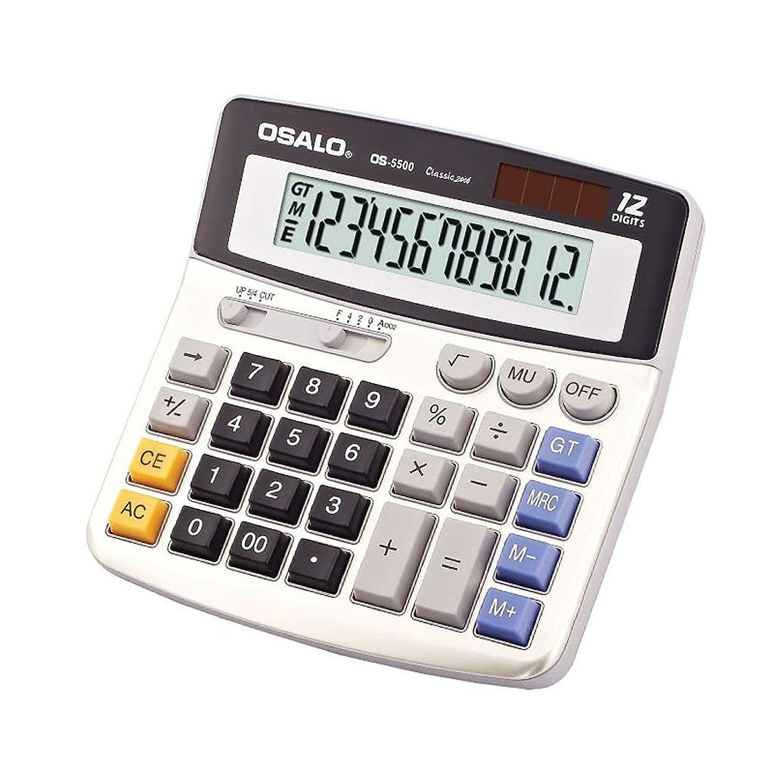 赤道小売いつか12ビット大型ディスプレイバッテリーまたはソーラーパワーオフィスとの電子デスクトップ電卓経済的、実用的