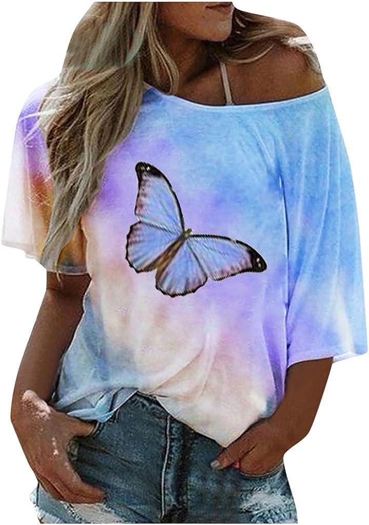 iQKA Women's Plus Size Tops Cold Shoulder Tie-dye Butterfly Print Casual Loose T-Shirt Blouse