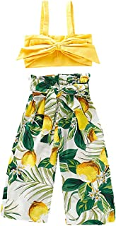 Cocity Toddler Baby Girls Summer Beach Clothes Outfits Sleeveless Solid Bow Vest Tank Tops T Shirt Tee Blouse +Lemon Print Pants Shorts Casual Clothes Outfits Suits for 6M-4Y