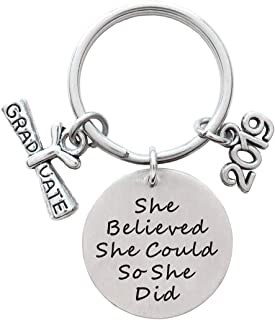 2019 Graduation Gift She Believed She Could So She Did Inspirational Quote Diploma Keychain Class of 2019 Senior Year Gift, High School Graduation College Graduation Gift
