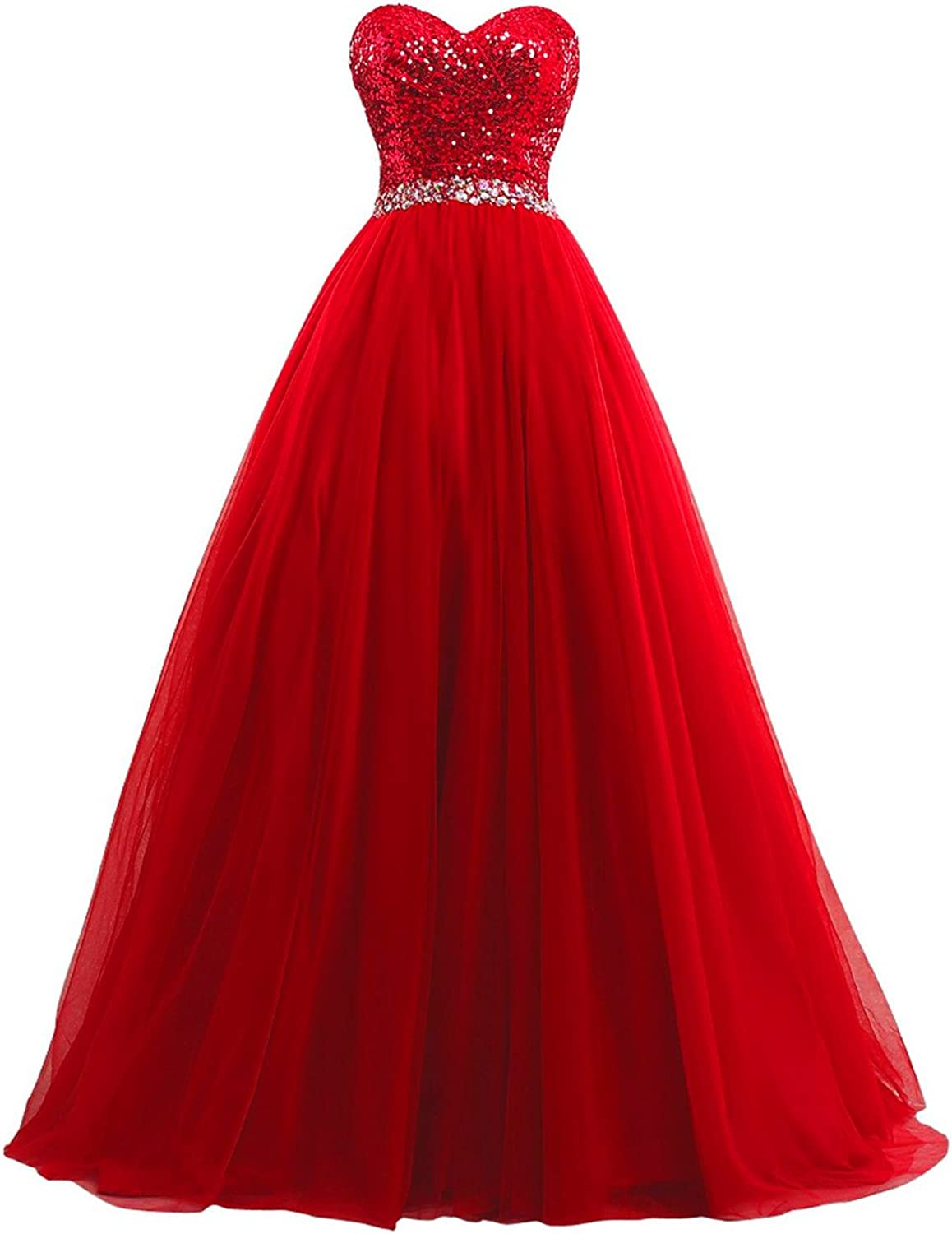 XingMeng Women's A Line Long Prom Bridesmaid Dress Sequin Party Formal Dresses Ball Gowns