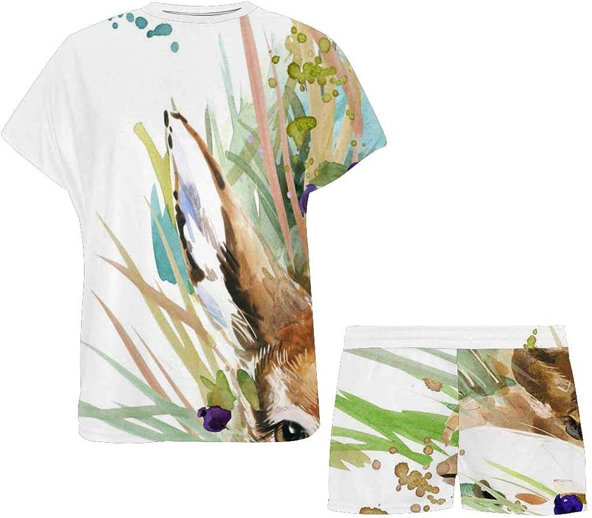INTERESTPRINT Cute Fawn Forest Animals Watercolor Women's Lightweight Pajama Set, Short Summer Pjs