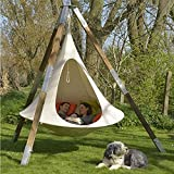 Hanging Swing Chair ,UFO Shape Teepee Tree Hanging Silkworm Cocoon Swing Chair for Kids & Adults Indoor Outdoor Hammock,White