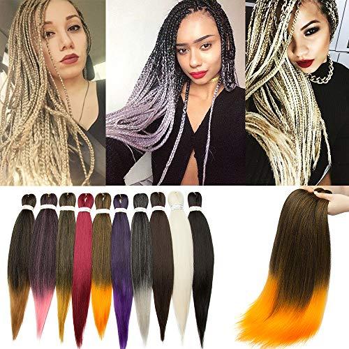 SEGO Rajout Extension Cheveux Fibre Synthetique Tresses Box Braids Crochet Braids Meche pour Kanekalon - [ 1 Ton 100g ] 26 Pouces (66cm) Noir Naturel+Orange