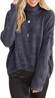 Jiangyinga Womens Turtleneck Sweaters Velvet Roll Long Sleeve Knit Pullovers Fall Tops