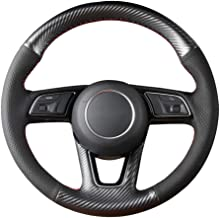 LILIXNX Anti-Slip Hand-Stitched Black Carbon Fiber Leather Car Steering Wheel Cover,for Audi A1 A3 A4 A5 A7