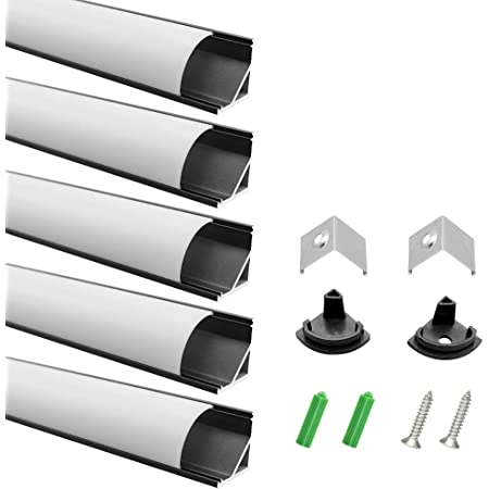 End Caps and Mounting Clips Aluminum Extrusion for LED Strip Light Installations-U01B5 LightingWill 5-Pack 3.3ft//1M 9x23mm Black U-Shape Internal Width 12mm LED Aluminum Channel System with Cover