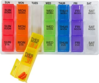 GMS Weekly Pill Organizer Rainbow, Portable Travel Pill Holder Cases (7-Day/3-Times-A-Day) with Removable Daily Boxes for Vitamins, Supplements and Medication