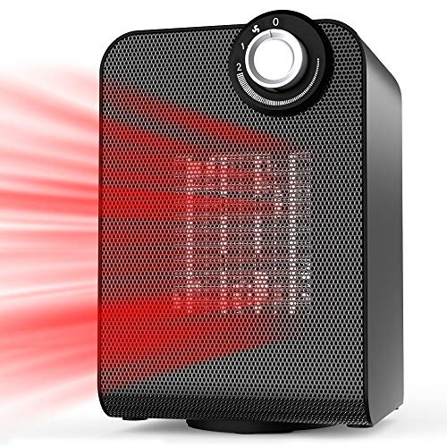 Space Heater for Office, Personal Portable Silent Small Room Quiet Heater, Energy Efficient 1000/1500W Heater Auto Oscillating with Thermostat Control Heater Room Space