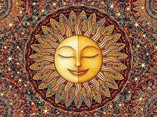 YISUMEI Decke 125x200 cm Kuscheldecken Sanft Flanell Weich Fleecedecke Bettüberwurf Sonnen Mandala