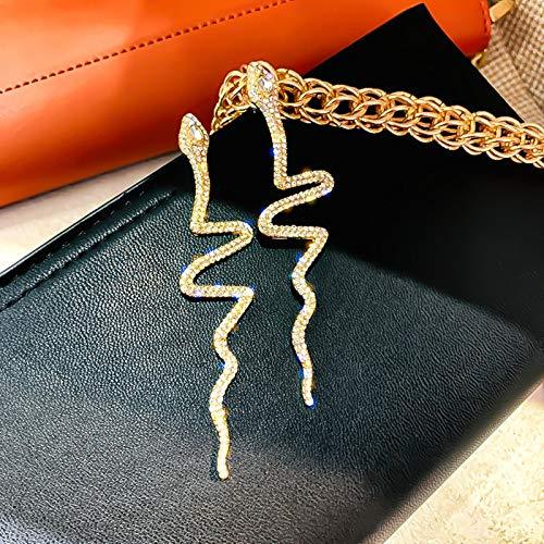 SALAN Pendientes Largos De Cristal con Borlas para Mujer, Pendientes Colgantes De Diamantes De Imitación con Forma De Serpiente Brillante, Regalos De Joyería De Moda para Bodas