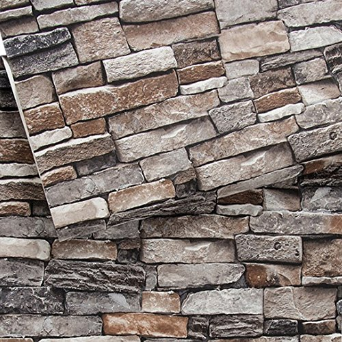 Brick Wallpaper, Stone Textured, Removable and Waterproof for Home Design and Room Decoration, Super Large Size 0.53m x 10m / 393.7' x 21'