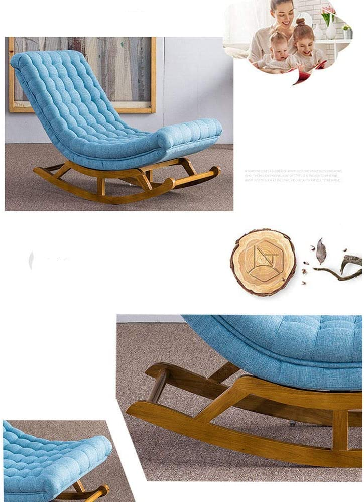 Chaise à Bascule en Bois Massif canapé Paresseux Chambre Chaise Longue Fauteuil de Bureau Ancien déjeuner Pause Chaise Portant Poids 200 kg Dark Blue Wood Frame