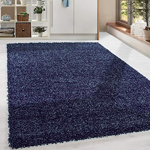 HomebyHome - Tappeto a pelo lungo Shaggy, colore: blu navy Taglie, Polipropilene, Blu mare, 80 x 150 cm
