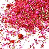 Heart's Desire Set Red Pink Silver Gold Dragees Valentine's Day Colorful Candy Sprinkles Mix For Baking Edible Cake Decorations Cupcake Toppers Cookie Decorating Ice Cream Toppings, 2OZ(sample size)