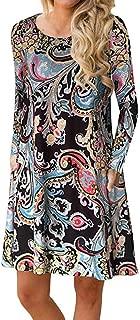 Women's Fall Long Sleeve Pockets T Shirt Dress Casual Loose Swing Dresses