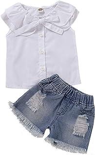 dccbcec5728d Toddler Baby Girl 2pcs Outfits Ruffle Collar Buttons Shirt Short Jeans Clothes  Set