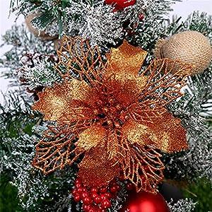 RAILONCH 12 Pcs Glitter Artificial Poinsettia Flowers, Christmas Tree Flowers Ornaments Decorative Floral Accessories for Christmas Tree Decorations (Orange,16CM)