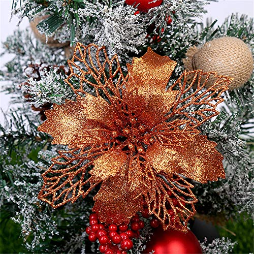RAILONCH 12 Pcs Glitter Artificial Poinsettia Flowers, Christmas Tree Flowers Ornaments Decorative Floral Accessories for Christmas Tree Decorations (Orange,16CM)