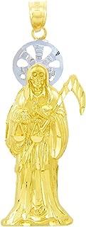 santa muerte gold pendant
