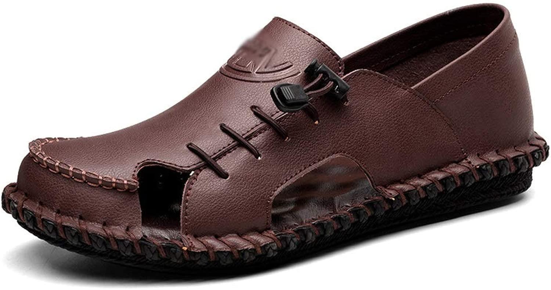EGS-schuhe Breathable Lace Casual Slippers Herrenschuhe Vietnamese Beach Herren Sandalen,Grille Schuhe (Farbe   Dark braun, Größe   42)