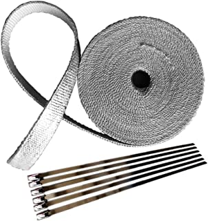 """2"""" x 32' Silver Aluminum Foil Exhaust Heat Wrap Roll for Motorcycle Fiberglass Heat Shield Tape with Stainless Ties"""
