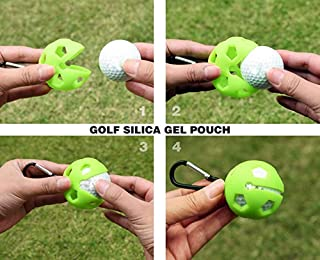 Kofull 2 in 1 Golf Ball Liner Golf Ball Holder with Aluminum Hook Soft Silicone 4 Color Available -Free 2 Golf Mark Pen
