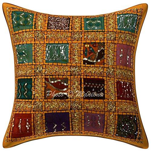 ManionaCrafts Indien Paillettes Patchwork Jaune Housse de Coussin géométrique à la Main Couvre-lit brodé Taie d'oreiller Ethnique