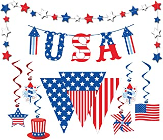 Dazonge Patriotic Decorations | Kit Navy & Red Hanging Swirl Decorating, USA Letter Banner, American Pennant Banner, Patri...