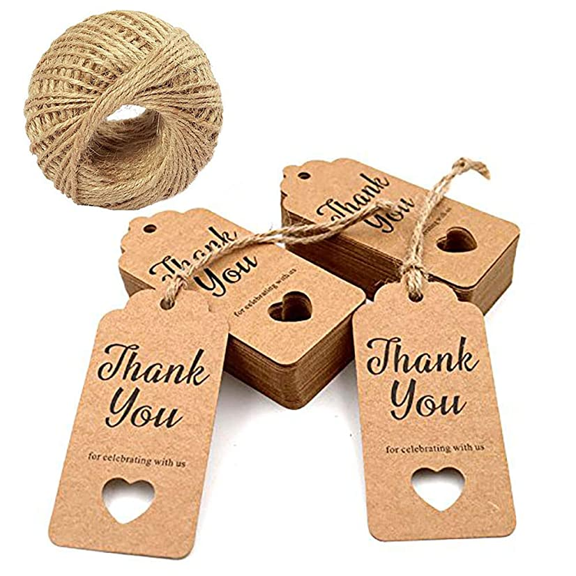 100 Pcs Brown Handmade Gift Tags Kraft Paper with 100 Ft Natural Jute Ribbon Twines for Bridal Party, Valentine - Thank You for Celebrating with Us String Attached, Rectangle with a Hollow Heart