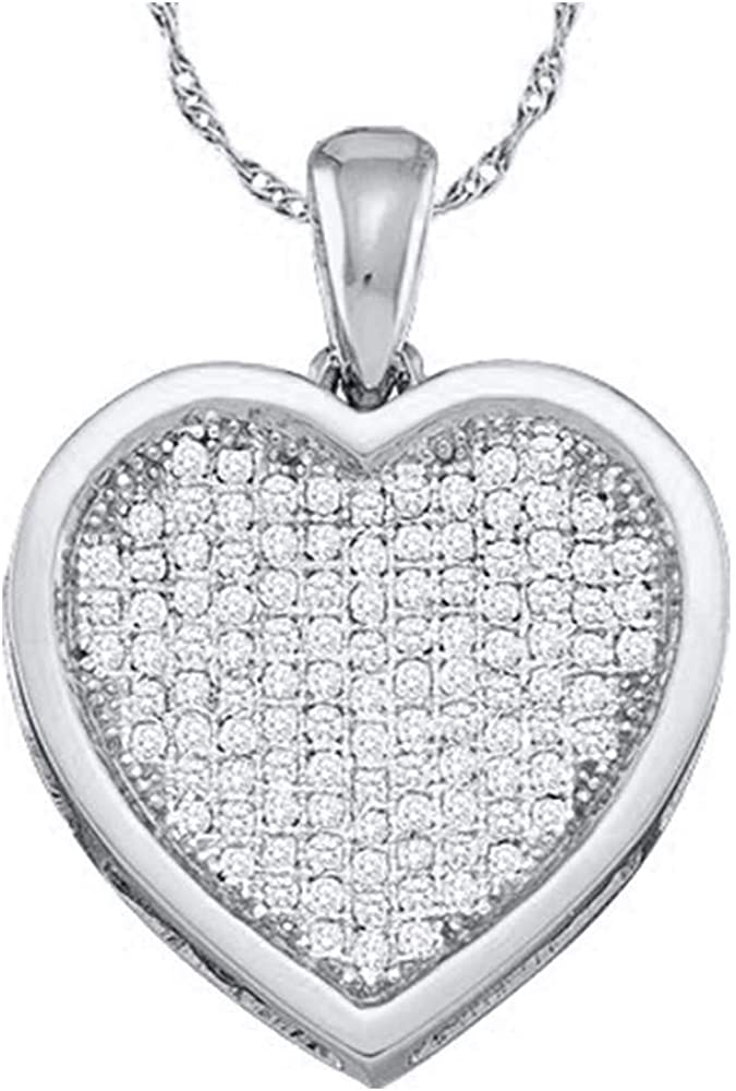 Diamond Heart Pendant Solid 10k White Gold Charm A surprise price is realized Small 1 Cheap SALE Start 2