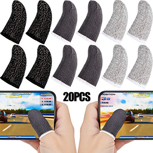 Gaming Finger Sleeve Touchscreen Finger Sleeve Anti-Sweat Breathable Touchscreen Finger Sleeve for Mobile Phone Games (Black White Grey, 20 Pieces)