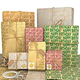 Larcenciel Kraft Gift Wrapping Paper Set -Happy Birthday Pattern Design Great for Birthday, Party,DIY Decorations, Baby Shower Wrap,Father's Day- 6 Sheets-27.17 X 20.08 inches