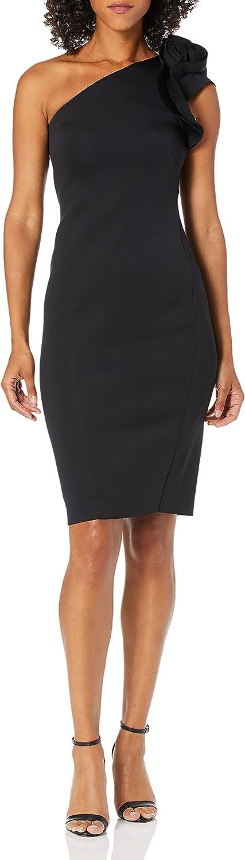 Betsy & Adam Women's Short One Shoulder Rose Accent Dress