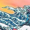 """HZAMING, arazzo con onde dell'oceano e tramonto in 3D, arazzo giapponese per pareti, Onda oceano., 58"""" x 78"""" #5"""
