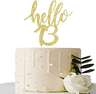 Hello 13 Cake Topper – 13th Birthday / 13th Anniversary Party Cake Decoration, 13th Birthday / 13th Anniversary Party Decorations Supplies (Gold, Hello 13)