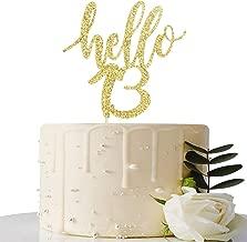 Hello 13 Cake Topper – 13th Birthday / 13th Anniversary Party Cake Decoration, 13th Birthday / 13th Anniversary Party Decorations Supplies (Gold, Hello 13)