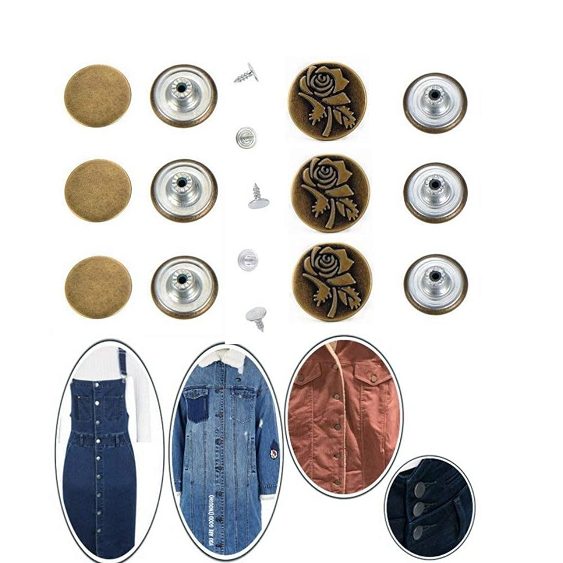 YALEX 50 Sets Jeans Buttons Metal Button Snap Buttons Replacement Kit with Rivets,2 Styles, Bronze