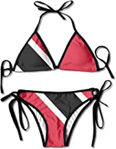 LINGMEI Flag of Trinidad and Tobago Sexy Boxing Bikini Women Halterneck Top and Set Swimsuits Beach Swimming