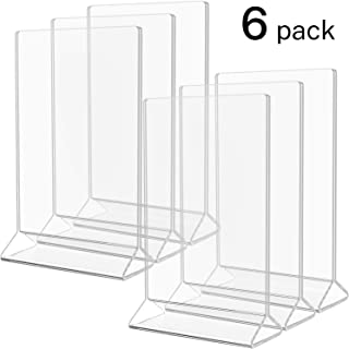 MaxGear Acrylic Frame Menu Holder 4x6 inches Clear Table Display Holders Menu Covers Acrylic Table Numbers Plastic Sign Holder for Restaurant, Wedding, Marketing Event, Reception-Double Sided, 6pack