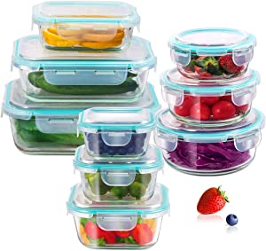 Glass Airtight Food Storage Containers with Snap-on Locking Lids