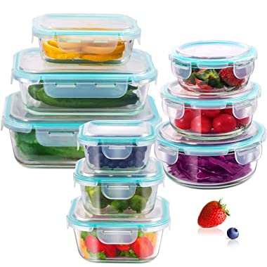 Glass Airtight Food Storage Containers with Snap-on Locking Lids Leak proof Meal Prep Container Lunch Boxes Set of 9 for Kitchen School Working