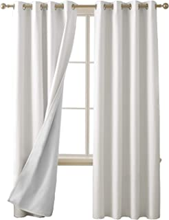 Deconovo 100 Percent Blackout Curtains with 3 Pass Energy Efficient Thermal Insulated Coating Faux Linen Room Darkening Curtains for Living Room 52 x 95 Inch Length Set of 2 Curtain Panels White