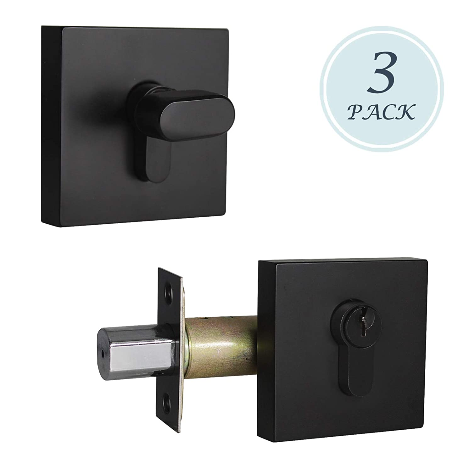 Square Single Cylinder Deadbolts, Black Deadbolts Lockset for Exterior Doors/Entry Lock/Front Gate, 3 Pack, Keyed Outside & Thumb Turn Inside, Not Keyed Alike