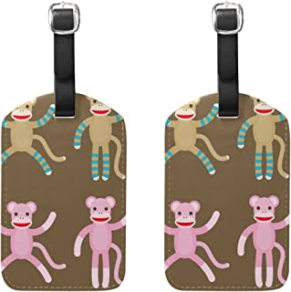 LEISISI Sock Monkeys Travel Luggage Tags Suitcase Luggage Bag Tags 2PCS