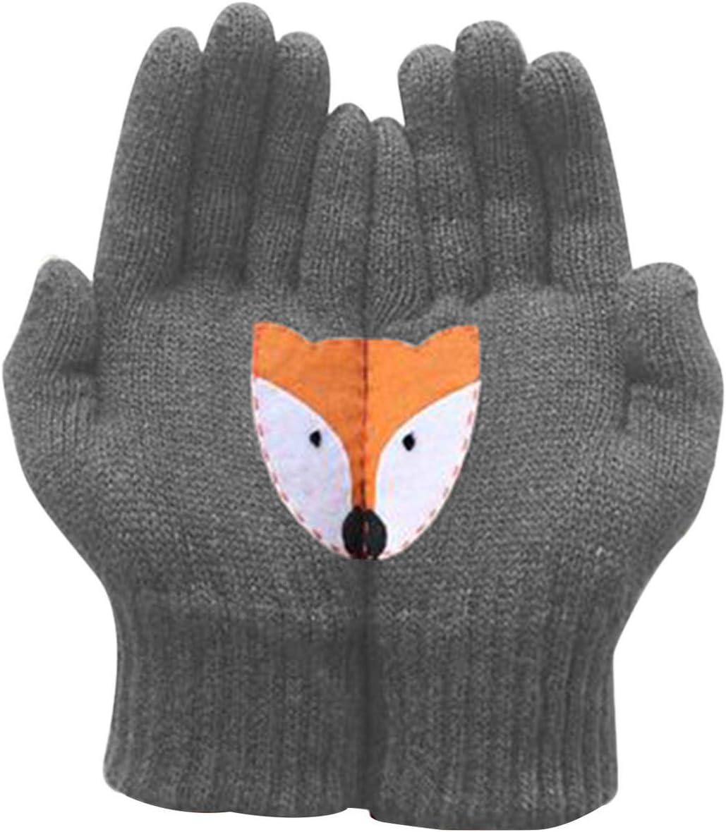 JIARY Fox Patchwrok Ladies Woolen Gloves Autumn Winter Outdoor Warm Printed Gloves Female Crochet Thicken,Dark Gray