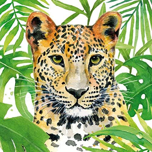 Home Collection Maison Cuisine Set 40 Serviettes de Table Jetables 3 Plis Motif Léopard Jungle Tropicale