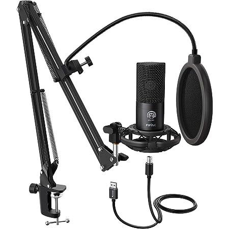 FIFINE Studio Microphone USB à condensateur pour Ordinateur Kit de Microphone pour Ordinateur avec Bras de ciseau réglable Support de Suspension - T669