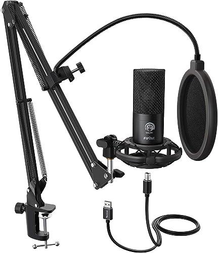 FIFINE Studio Microphone USB à condensateur pour Ordinateur Kit de Microphone pour Ordinateur avec Bras de ciseau rég...
