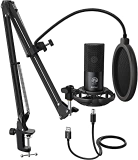 FIFINE Studio Condenser USB Microphone Computer PC Microphone Kit With Adjustable Scissor Arm Stand Shock Mount USB Cable ...